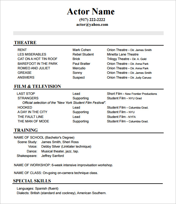 Acting Resume Advice From Asc Acting Studio Chicago - Pecial-skills-acting-resume