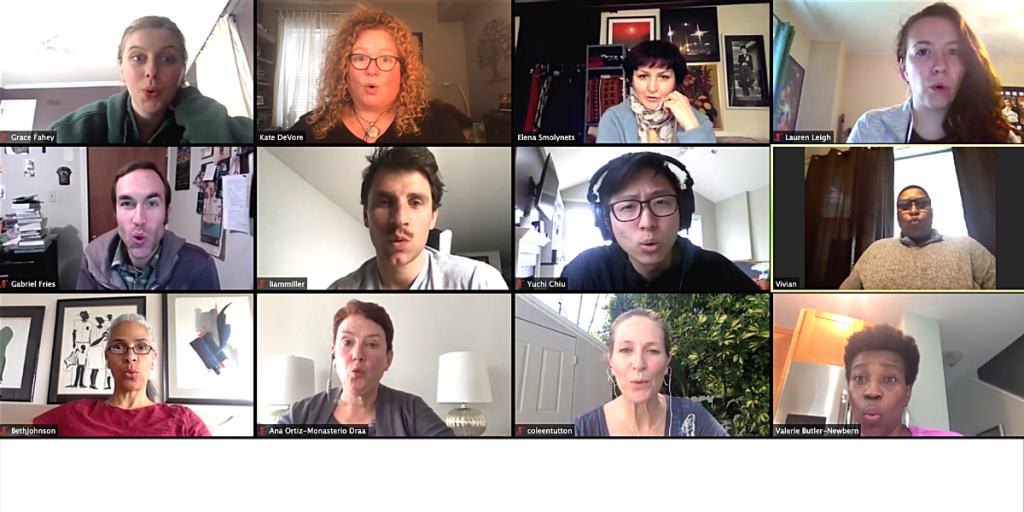Students connecting during their online acting class!