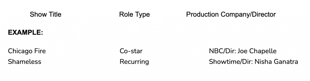 Tv credits acting resume example