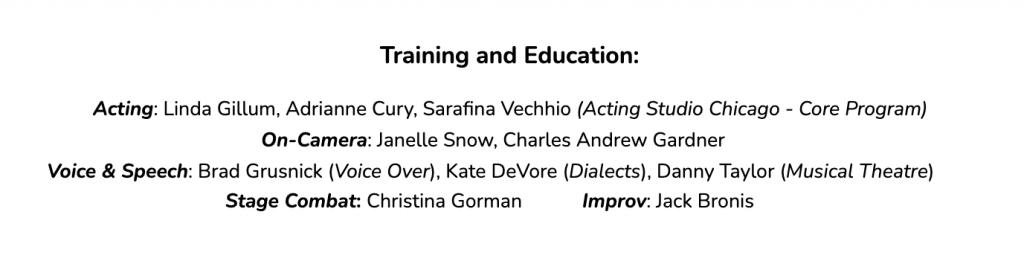 Training acting resume example